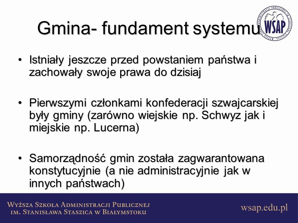 Gmina- fundament systemu
