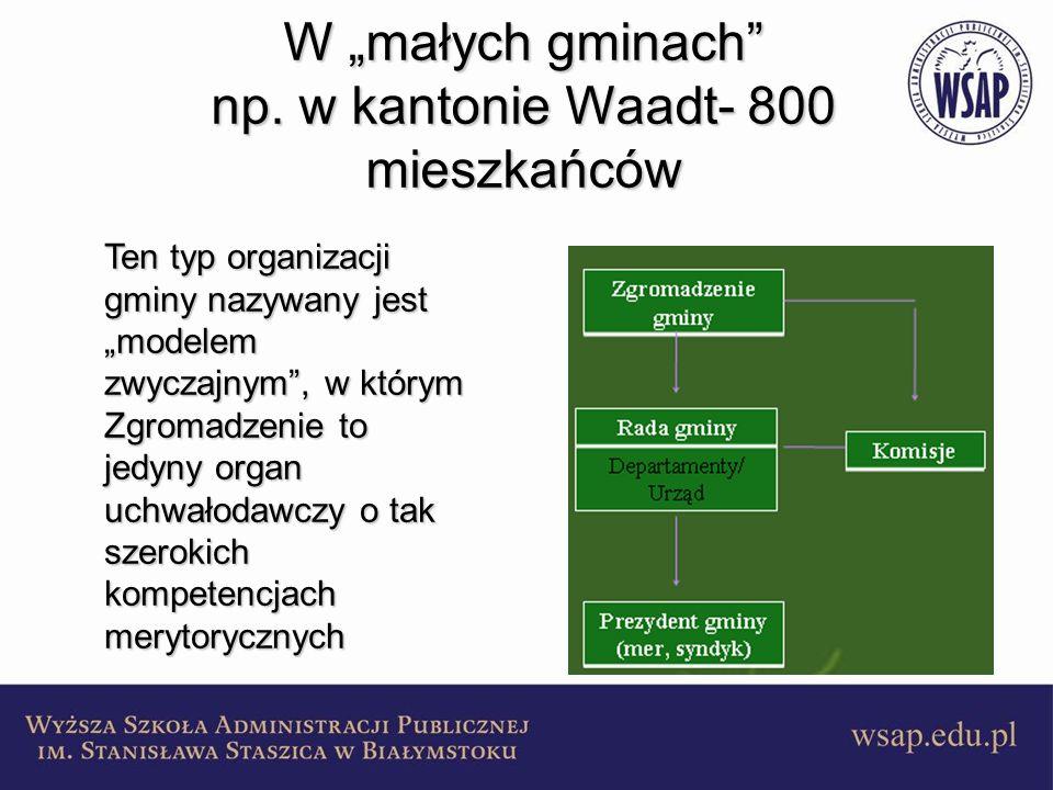 """W """"małych gminach np. w kantonie Waadt- 800 mieszkańców"""