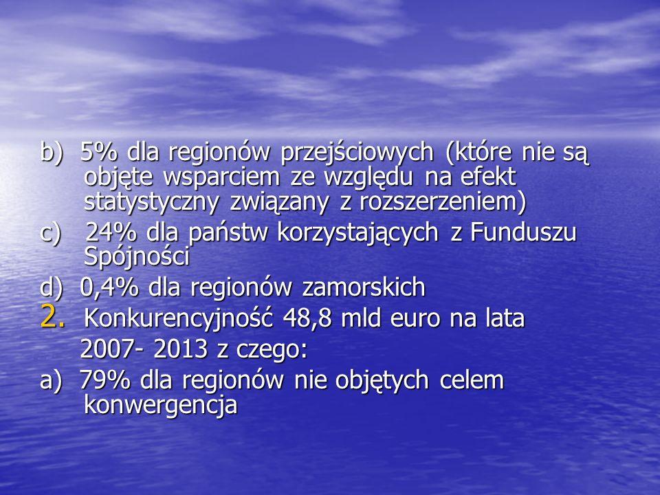 b) 5% dla regionów przejściowych (które nie są objęte wsparciem ze względu na efekt statystyczny związany z rozszerzeniem)