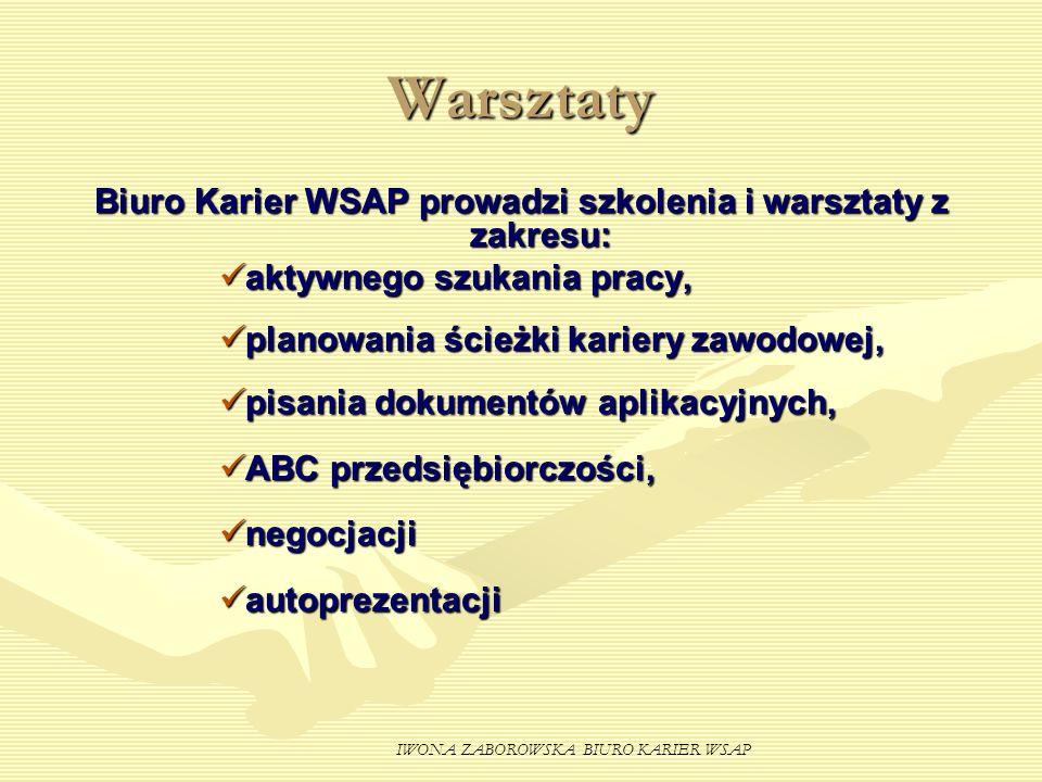 Biuro Karier WSAP prowadzi szkolenia i warsztaty z zakresu: