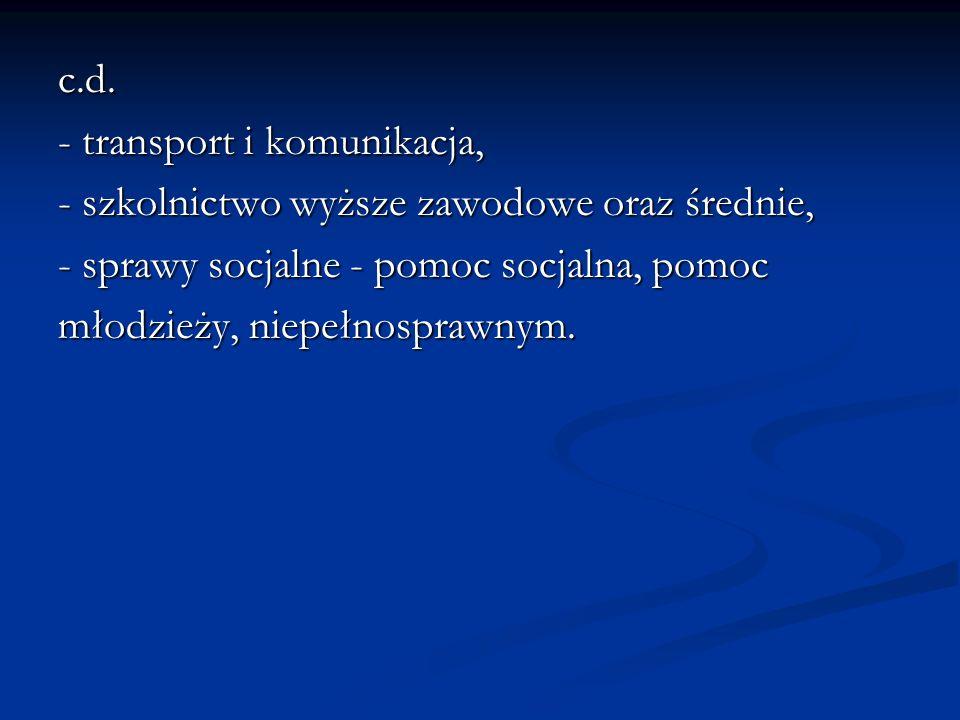 c.d. - transport i komunikacja, - szkolnictwo wyższe zawodowe oraz średnie, - sprawy socjalne - pomoc socjalna, pomoc.