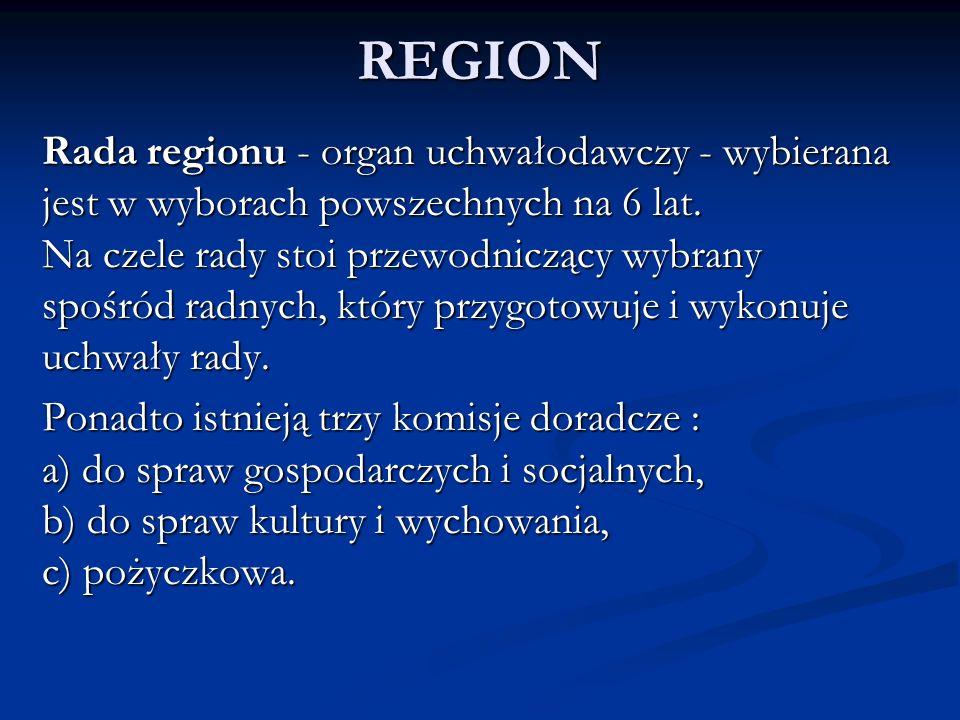REGION Rada regionu - organ uchwałodawczy - wybierana