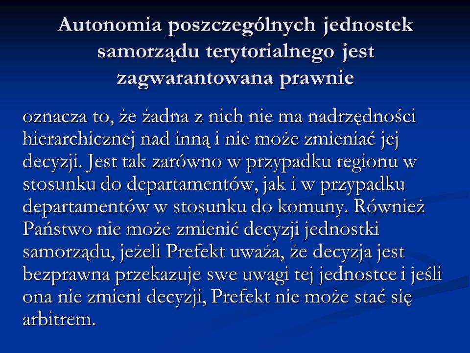 Autonomia poszczególnych jednostek samorządu terytorialnego jest zagwarantowana prawnie