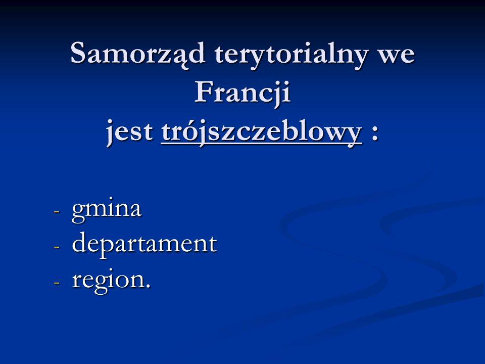Samorząd terytorialny we Francji jest trójszczeblowy :