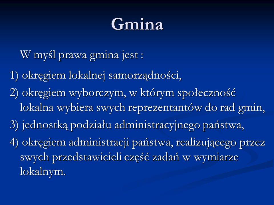 Gmina W myśl prawa gmina jest : 1) okręgiem lokalnej samorządności,
