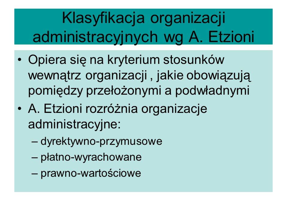 Klasyfikacja organizacji administracyjnych wg A. Etzioni