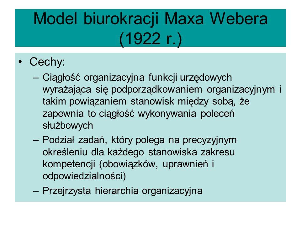 Model biurokracji Maxa Webera (1922 r.)