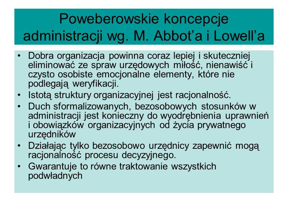 Poweberowskie koncepcje administracji wg. M. Abbot'a i Lowell'a