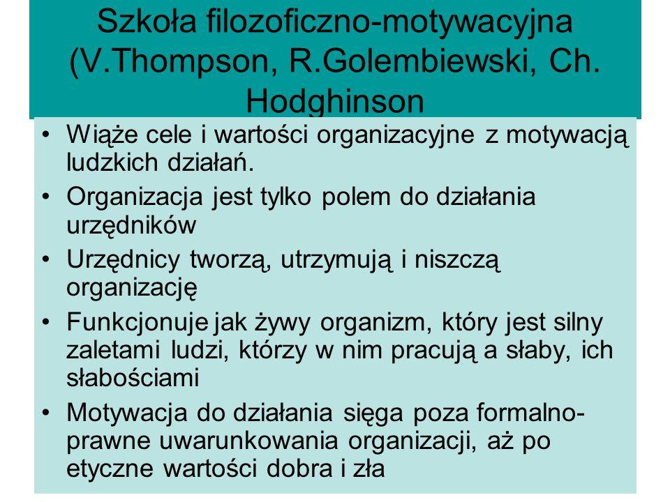 Szkoła filozoficzno-motywacyjna (V. Thompson, R. Golembiewski, Ch