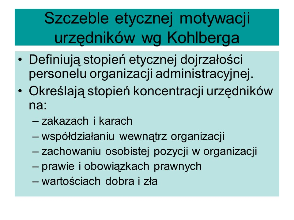 Szczeble etycznej motywacji urzędników wg Kohlberga