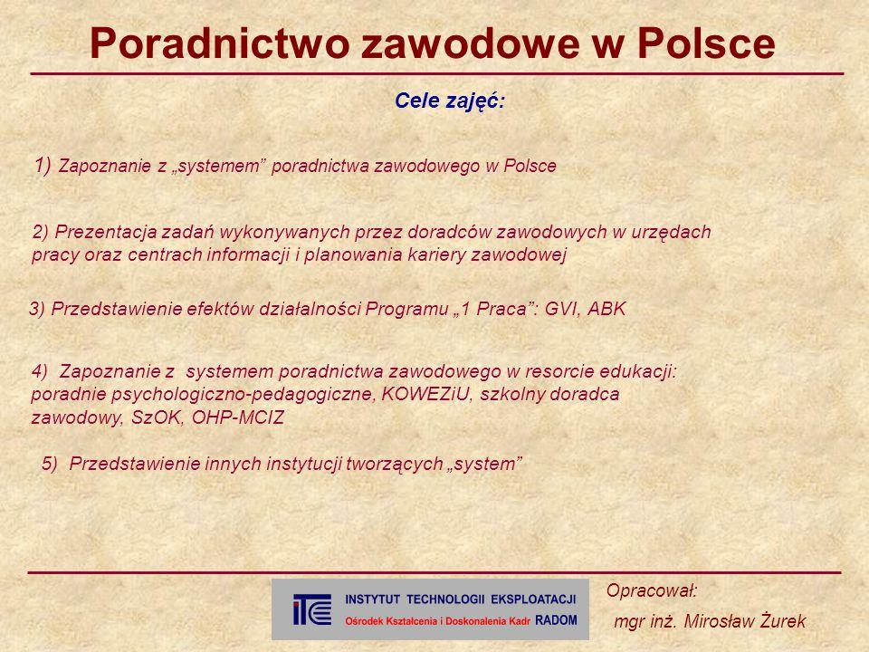 """1) Zapoznanie z """"systemem poradnictwa zawodowego w Polsce"""