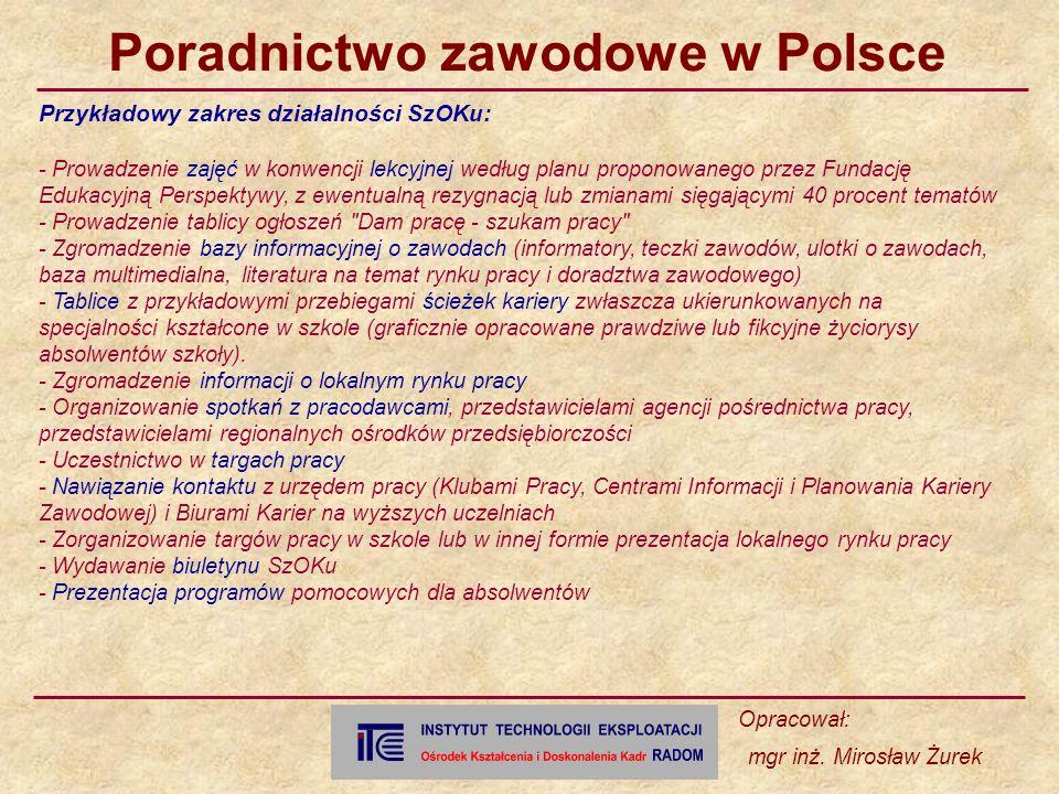 Przykładowy zakres działalności SzOKu: