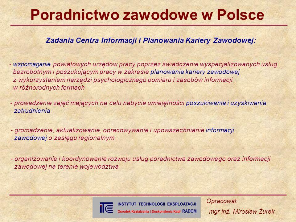 Zadania Centra Informacji i Planowania Kariery Zawodowej: