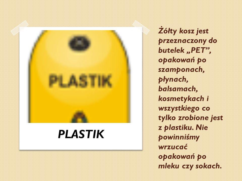 """Żółty kosz jest przeznaczony do butelek """"PET , opakowań po szamponach, płynach, balsamach, kosmetykach i wszystkiego co tylko zrobione jest z plastiku. Nie powinniśmy wrzucać opakowań po mleku czy sokach."""