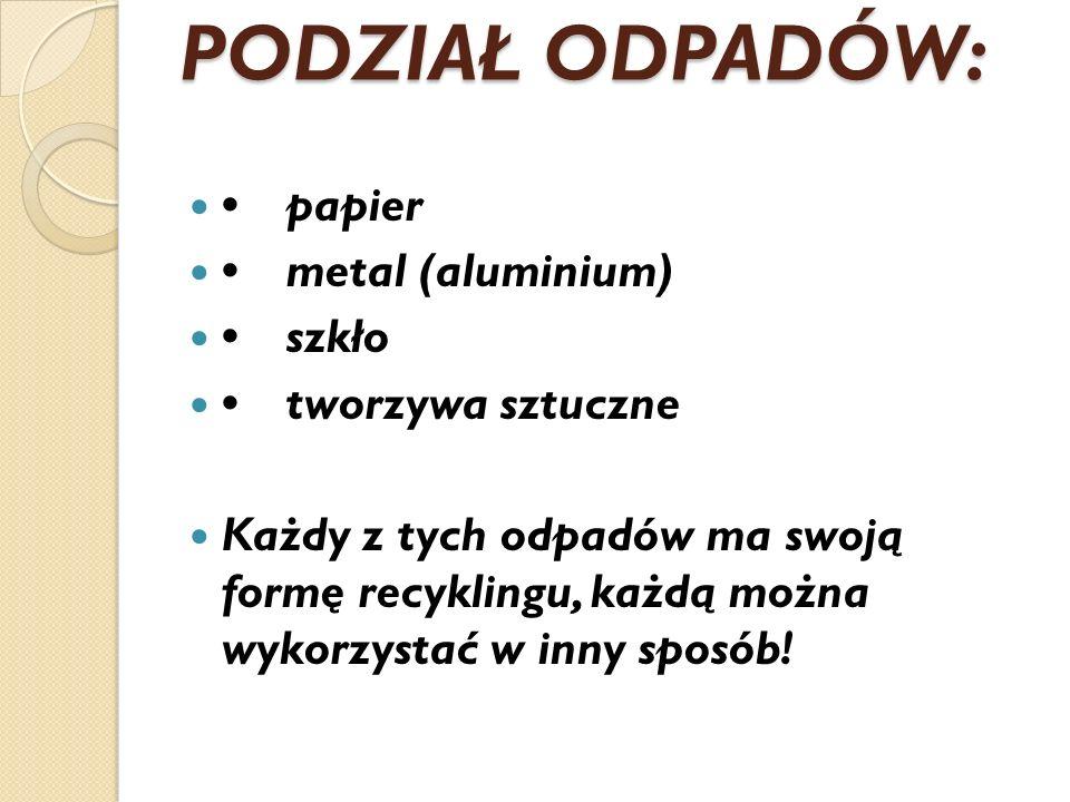 PODZIAŁ ODPADÓW: • papier • metal (aluminium) • szkło