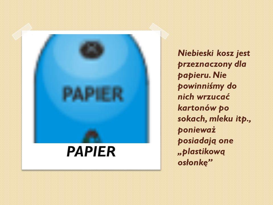 Niebieski kosz jest przeznaczony dla papieru