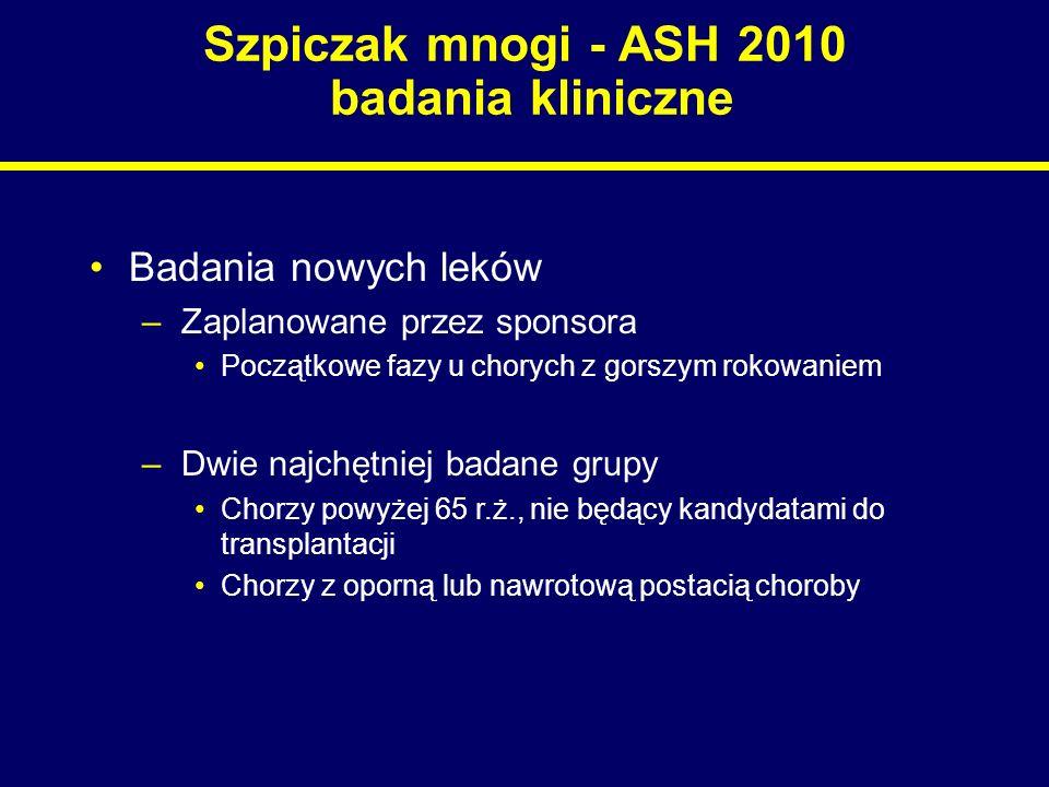 Szpiczak mnogi - ASH 2010 badania kliniczne