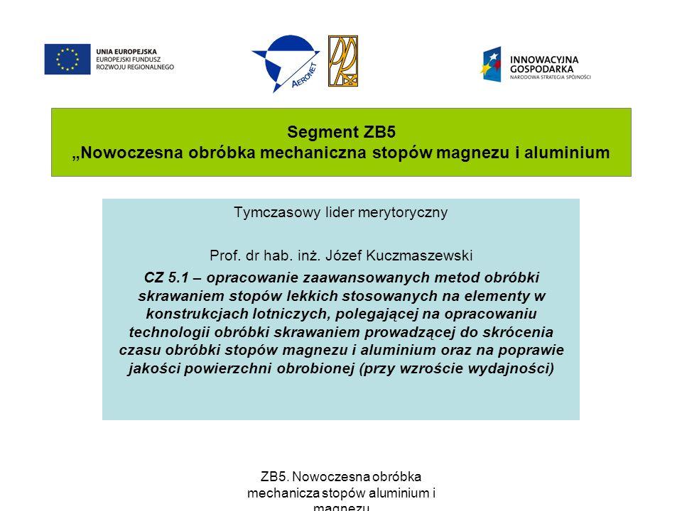 """Segment ZB5 """"Nowoczesna obróbka mechaniczna stopów magnezu i aluminium"""