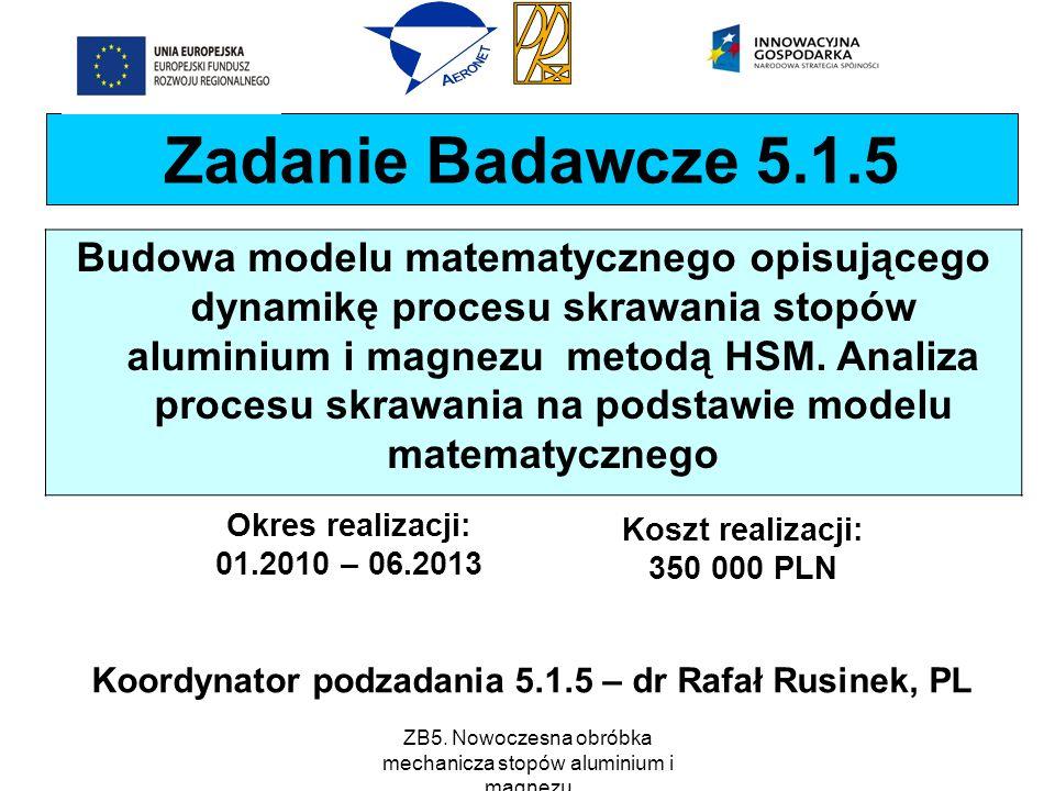Koordynator podzadania 5.1.5 – dr Rafał Rusinek, PL