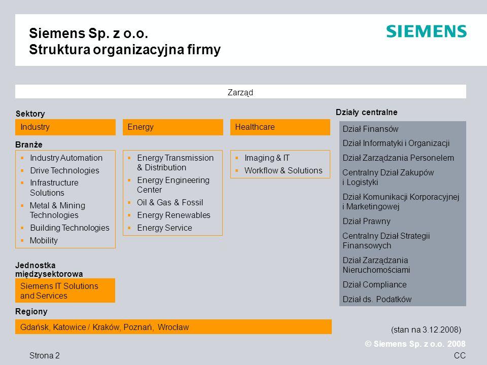 Siemens Sp. z o.o. Struktura organizacyjna firmy