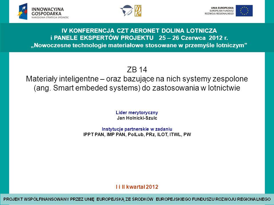 ZB 14 Materiały inteligentne – oraz bazujące na nich systemy zespolone (ang. Smart embeded systems) do zastosowania w lotnictwie