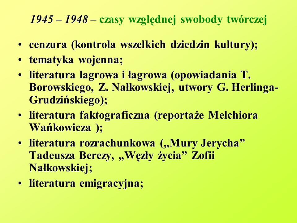 1945 – 1948 – czasy względnej swobody twórczej