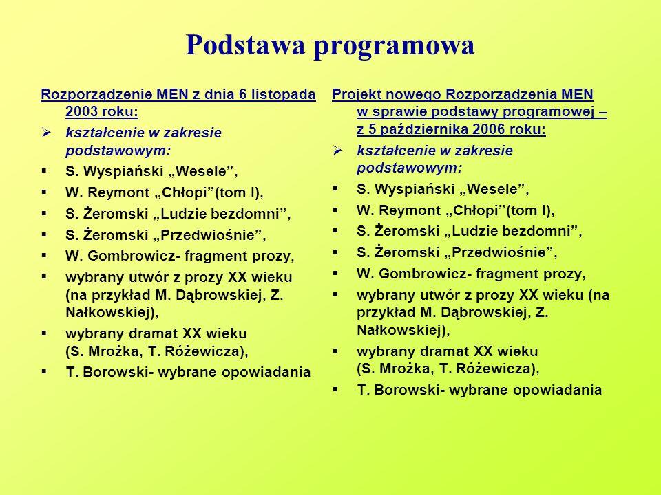 Podstawa programowa Rozporządzenie MEN z dnia 6 listopada 2003 roku: