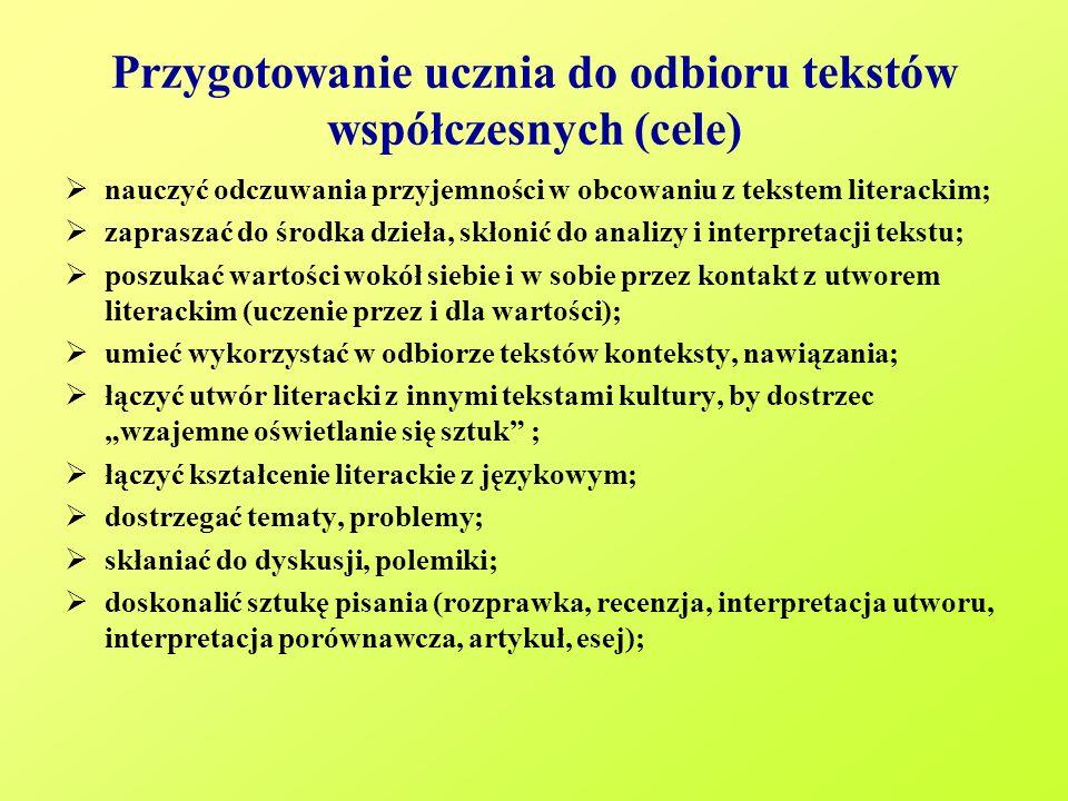 Przygotowanie ucznia do odbioru tekstów współczesnych (cele)