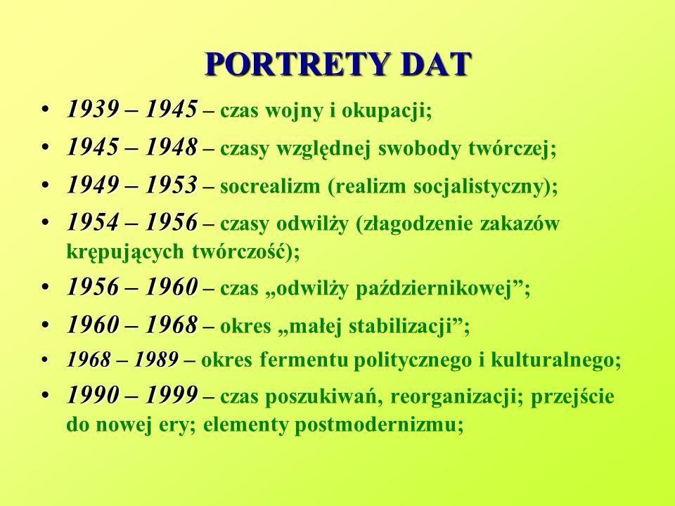 PORTRETY DAT 1939 – 1945 – czas wojny i okupacji;