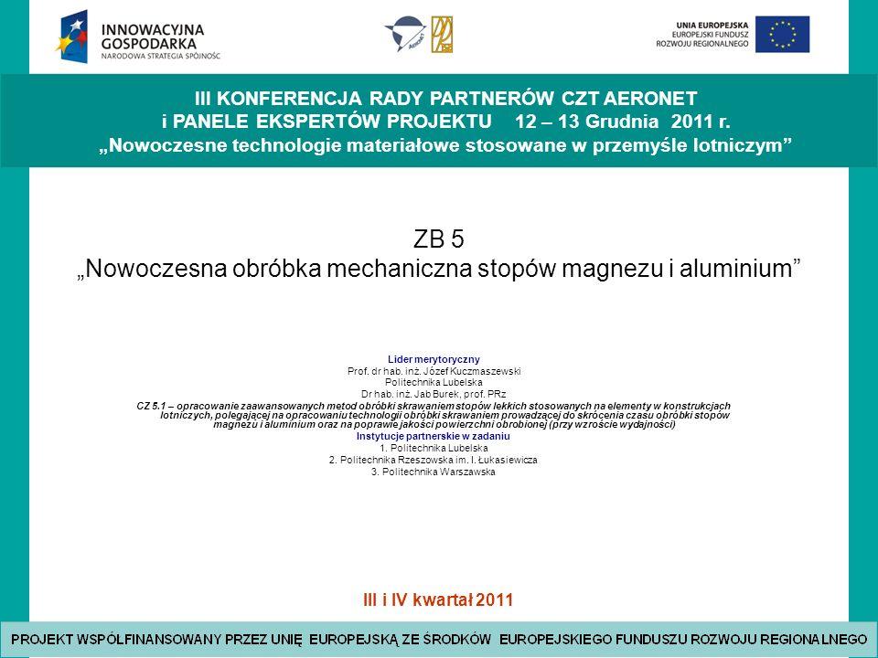 """ZB 5 """"Nowoczesna obróbka mechaniczna stopów magnezu i aluminium"""