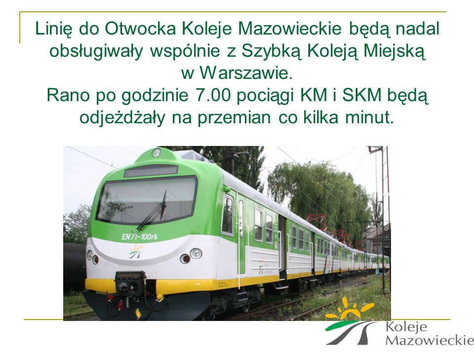 Linię do Otwocka Koleje Mazowieckie będą nadal obsługiwały wspólnie z Szybką Koleją Miejską w Warszawie.