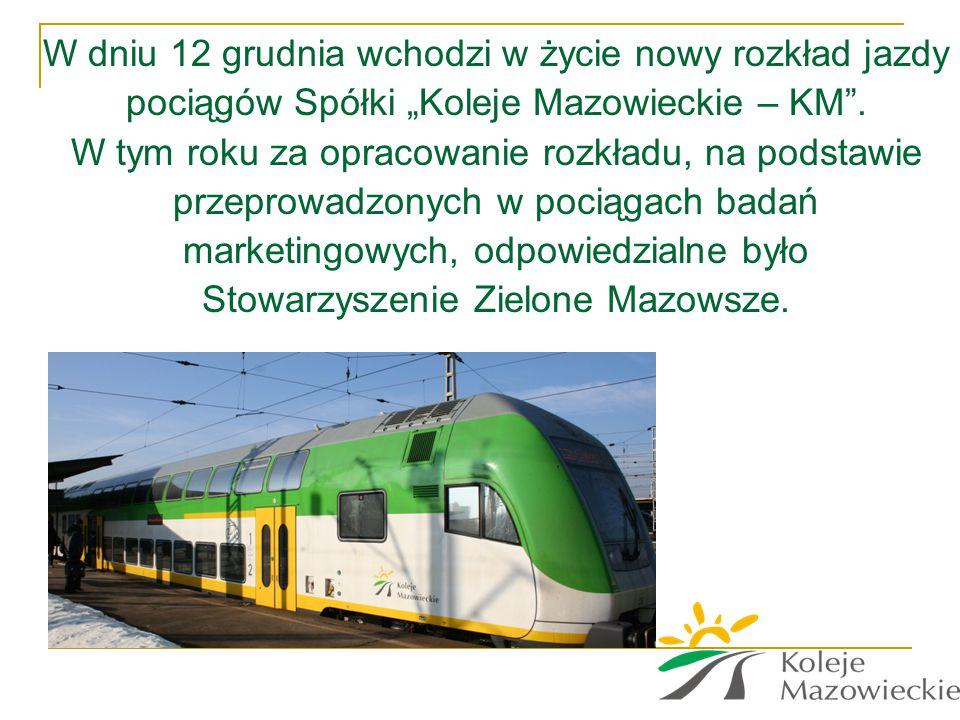"""W dniu 12 grudnia wchodzi w życie nowy rozkład jazdy pociągów Spółki """"Koleje Mazowieckie – KM ."""