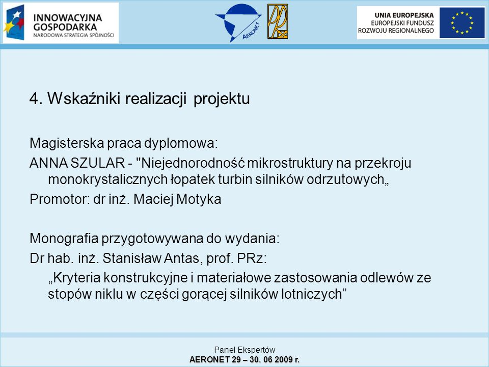 4. Wskaźniki realizacji projektu