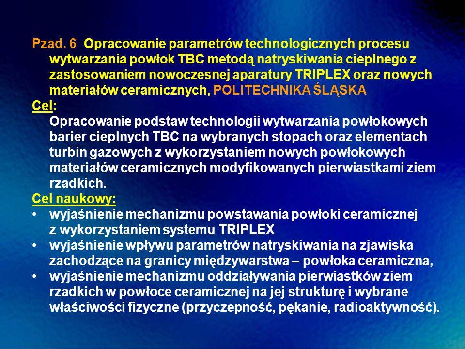 Pzad. 6 Opracowanie parametrów technologicznych procesu wytwarzania powłok TBC metodą natryskiwania cieplnego z zastosowaniem nowoczesnej aparatury TRIPLEX oraz nowych materiałów ceramicznych, POLITECHNIKA ŚLĄSKA