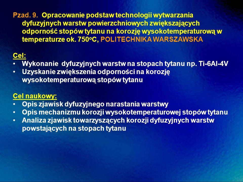Pzad. 9. Opracowanie podstaw technologii wytwarzania dyfuzyjnych warstw powierzchniowych zwiększających odporność stopów tytanu na korozję wysokotemperaturową w temperaturze ok. 750oC, POLITECHNIKA WARSZAWSKA
