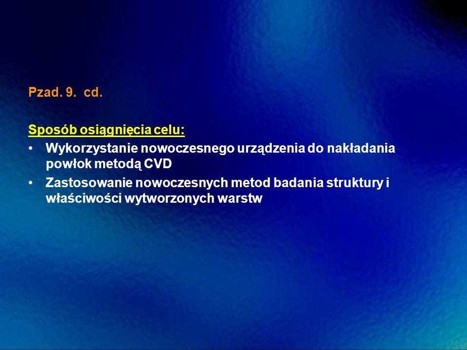 Pzad. 9. cd.Sposób osiągnięcia celu: Wykorzystanie nowoczesnego urządzenia do nakładania powłok metodą CVD.