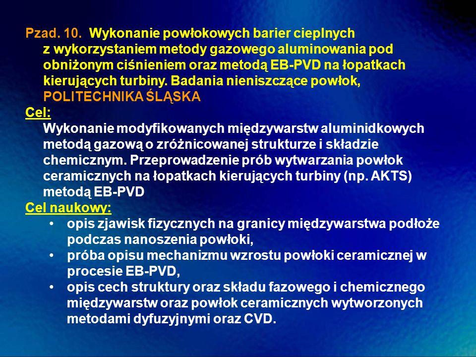 Pzad. 10. Wykonanie powłokowych barier cieplnych z wykorzystaniem metody gazowego aluminowania pod obniżonym ciśnieniem oraz metodą EB-PVD na łopatkach kierujących turbiny. Badania nieniszczące powłok, POLITECHNIKA ŚLĄSKA