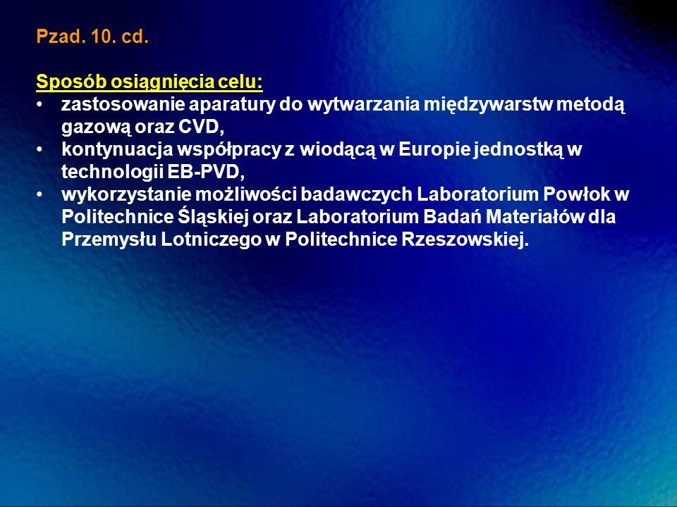 Pzad. 10. cd.Sposób osiągnięcia celu: zastosowanie aparatury do wytwarzania międzywarstw metodą gazową oraz CVD,