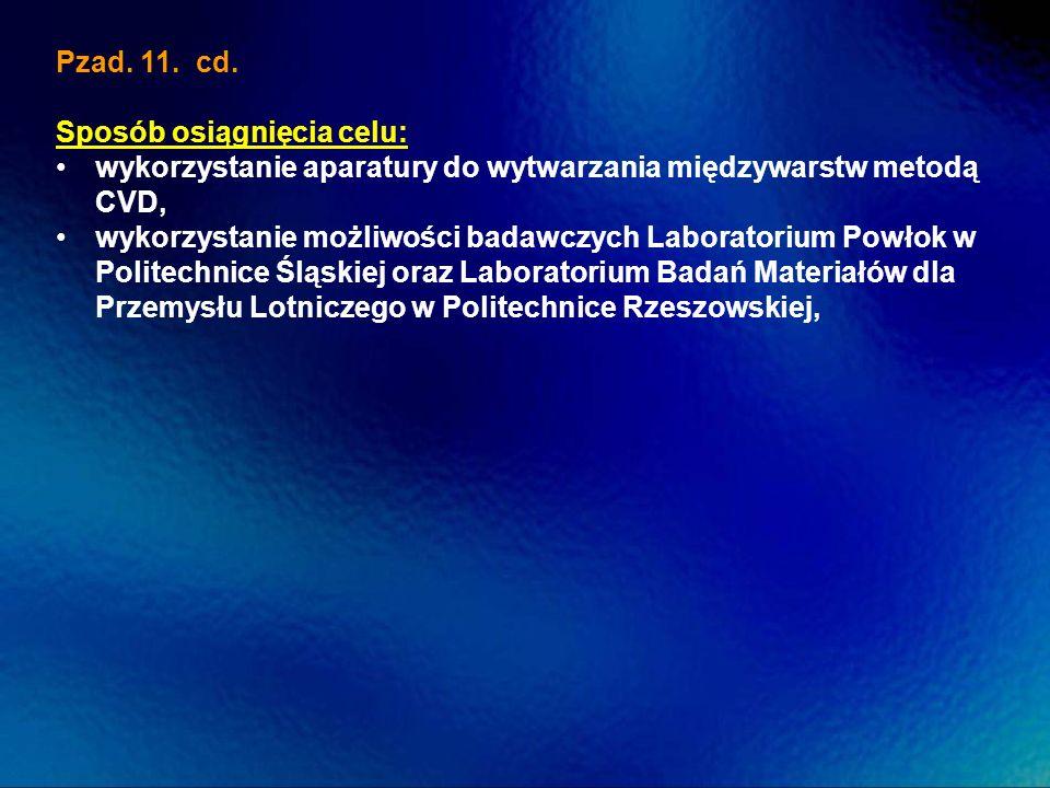 Pzad. 11. cd.Sposób osiągnięcia celu: wykorzystanie aparatury do wytwarzania międzywarstw metodą CVD,