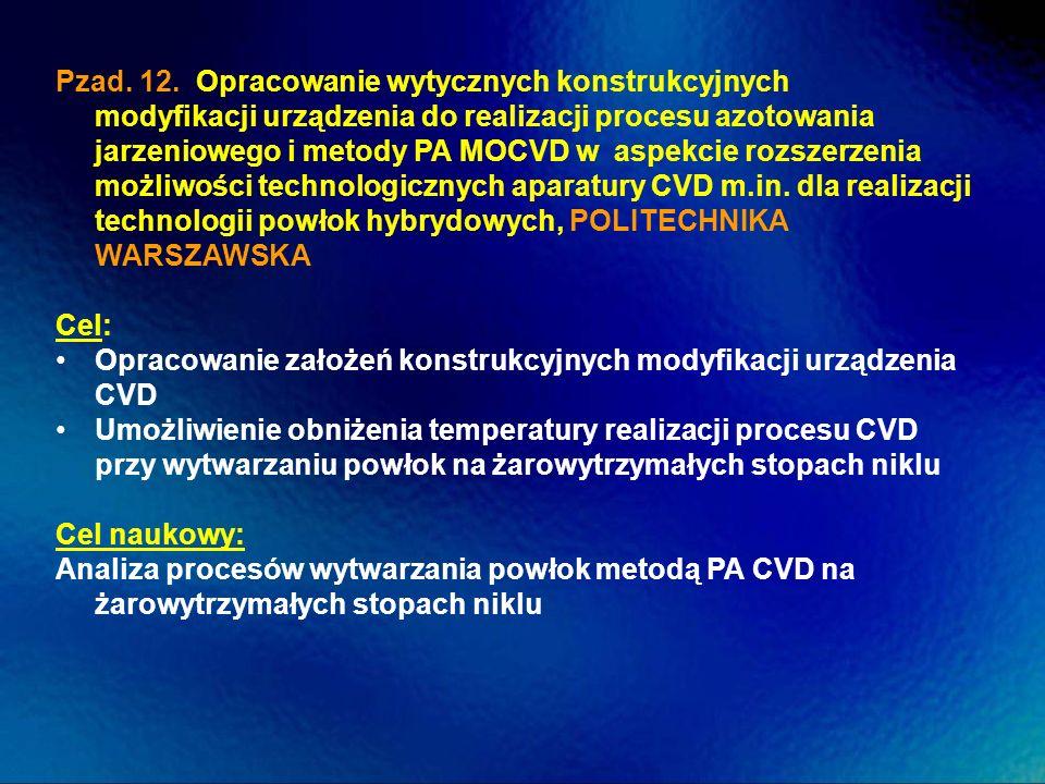 Pzad. 12. Opracowanie wytycznych konstrukcyjnych modyfikacji urządzenia do realizacji procesu azotowania jarzeniowego i metody PA MOCVD w aspekcie rozszerzenia możliwości technologicznych aparatury CVD m.in. dla realizacji technologii powłok hybrydowych, POLITECHNIKA WARSZAWSKA