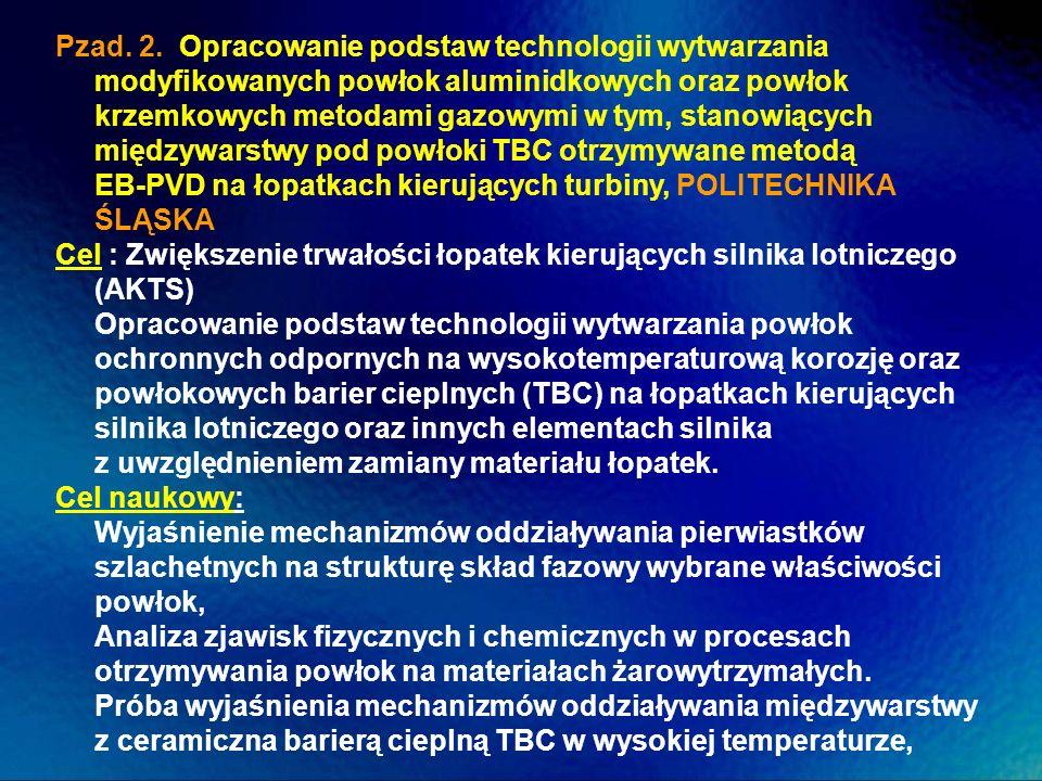 Pzad. 2. Opracowanie podstaw technologii wytwarzania modyfikowanych powłok aluminidkowych oraz powłok krzemkowych metodami gazowymi w tym, stanowiących międzywarstwy pod powłoki TBC otrzymywane metodą EB-PVD na łopatkach kierujących turbiny, POLITECHNIKA ŚLĄSKA