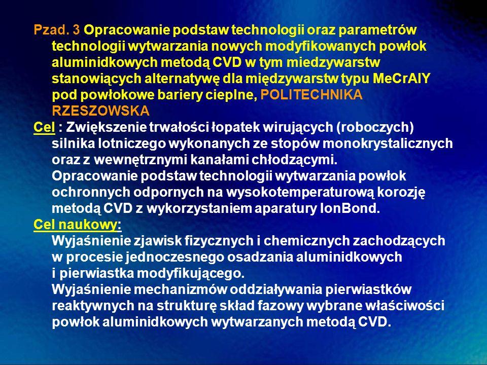 Pzad. 3 Opracowanie podstaw technologii oraz parametrów technologii wytwarzania nowych modyfikowanych powłok aluminidkowych metodą CVD w tym miedzywarstw stanowiących alternatywę dla międzywarstw typu MeCrAlY pod powłokowe bariery cieplne, POLITECHNIKA RZESZOWSKA