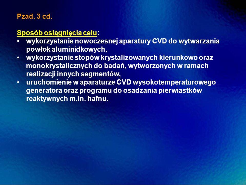 Pzad. 3 cd. Sposób osiągnięcia celu: wykorzystanie nowoczesnej aparatury CVD do wytwarzania powłok aluminidkowych,