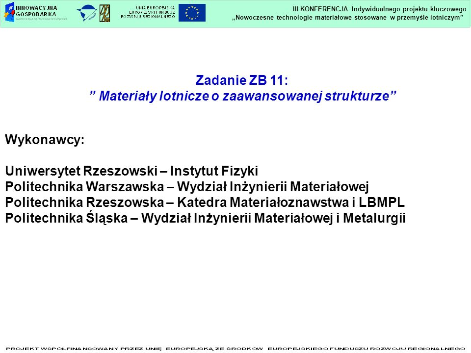Zadanie ZB 11: Materiały lotnicze o zaawansowanej strukturze