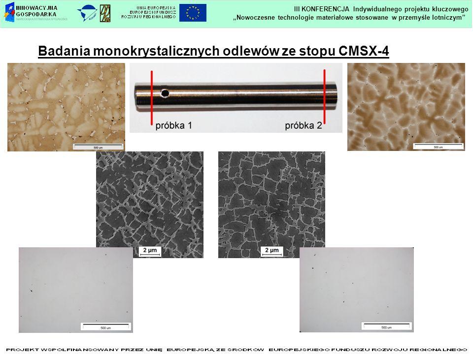 Badania monokrystalicznych odlewów ze stopu CMSX-4