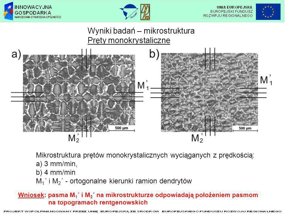 Wyniki badań – mikrostruktura Pręty monokrystaliczne