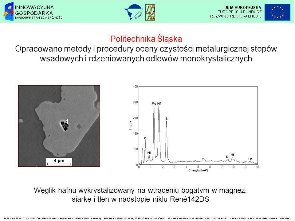 Politechnika Śląska Opracowano metody i procedury oceny czystości metalurgicznej stopów wsadowych i rdzeniowanych odlewów monokrystalicznych.