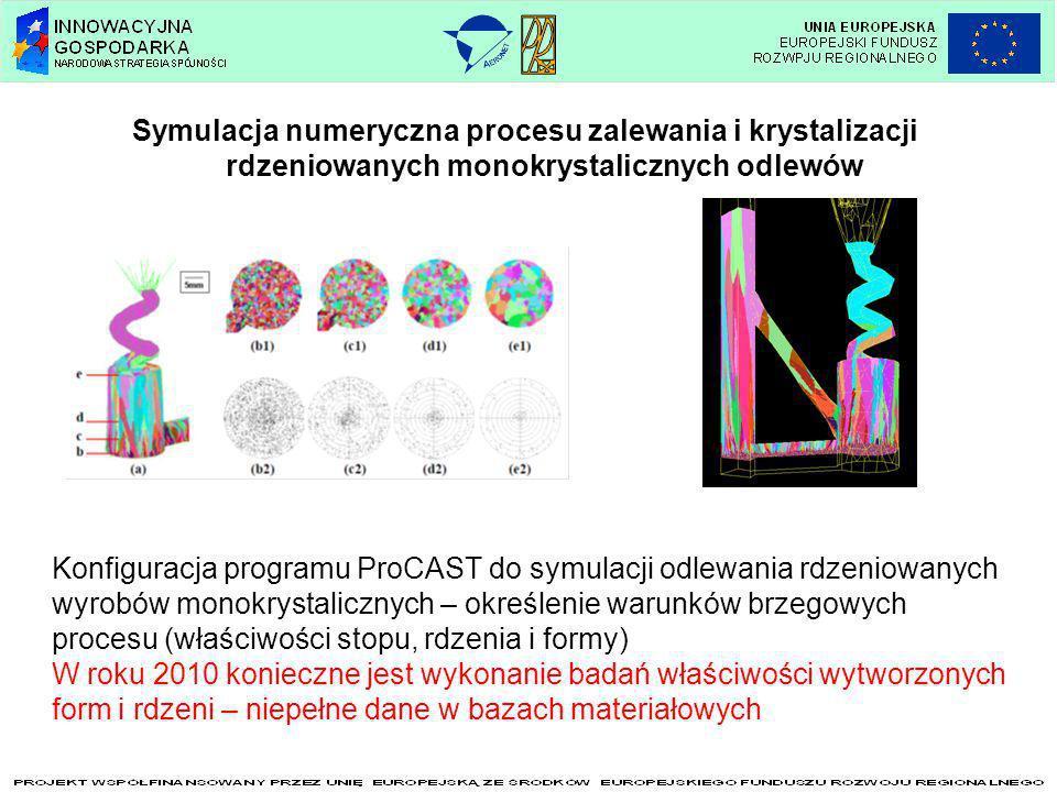 Symulacja numeryczna procesu zalewania i krystalizacji rdzeniowanych monokrystalicznych odlewów