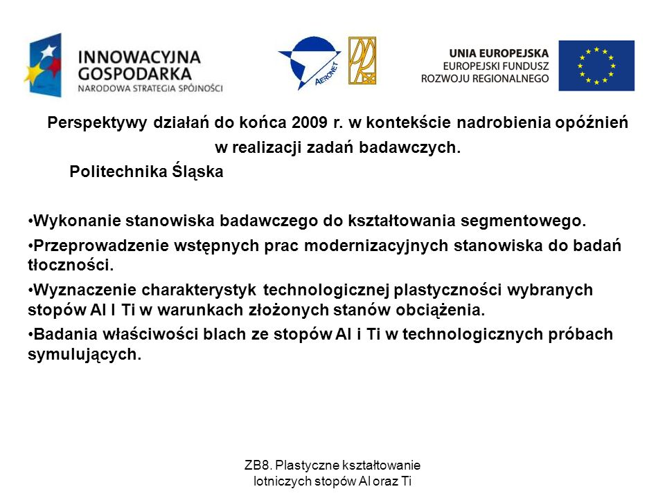 Perspektywy działań do końca 2009 r. w kontekście nadrobienia opóźnień