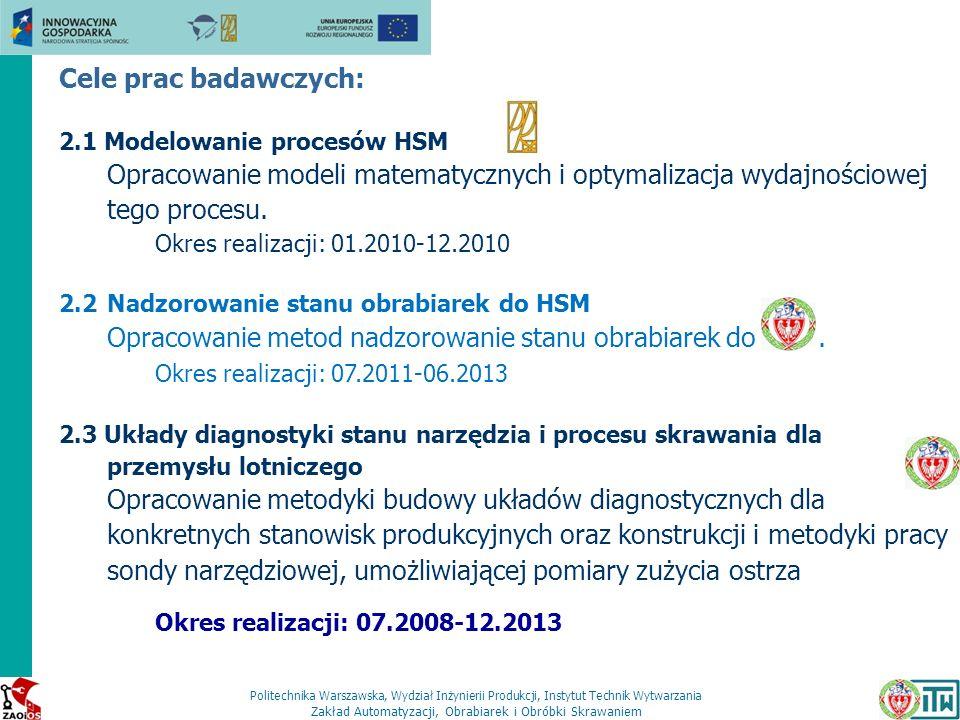 Opracowanie metod nadzorowanie stanu obrabiarek do HSM.